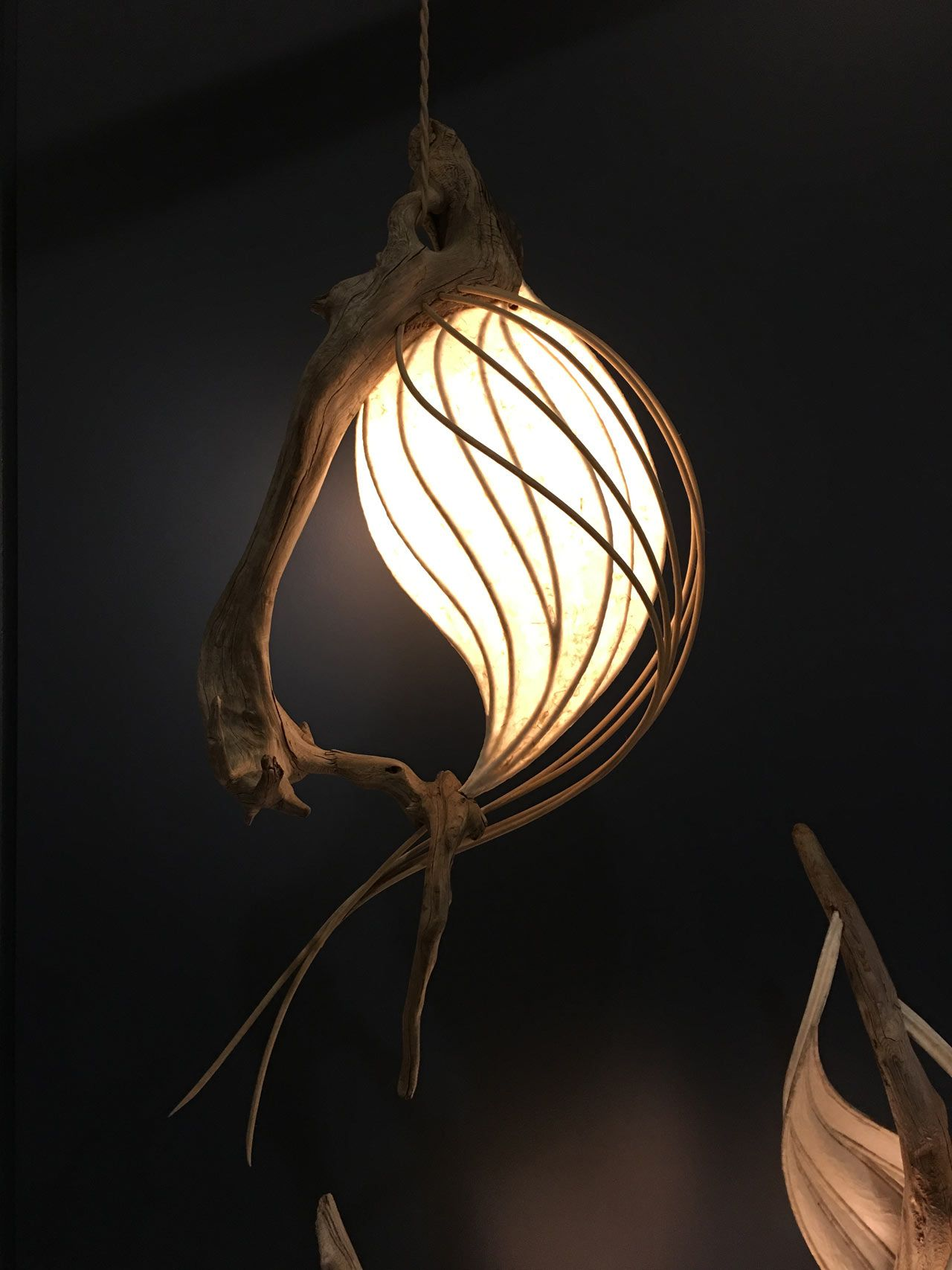 Cameron Mathieson Makes Organic Lighting Using Driftwood, Tree Roots And  Shades Made Of Japanese Paper