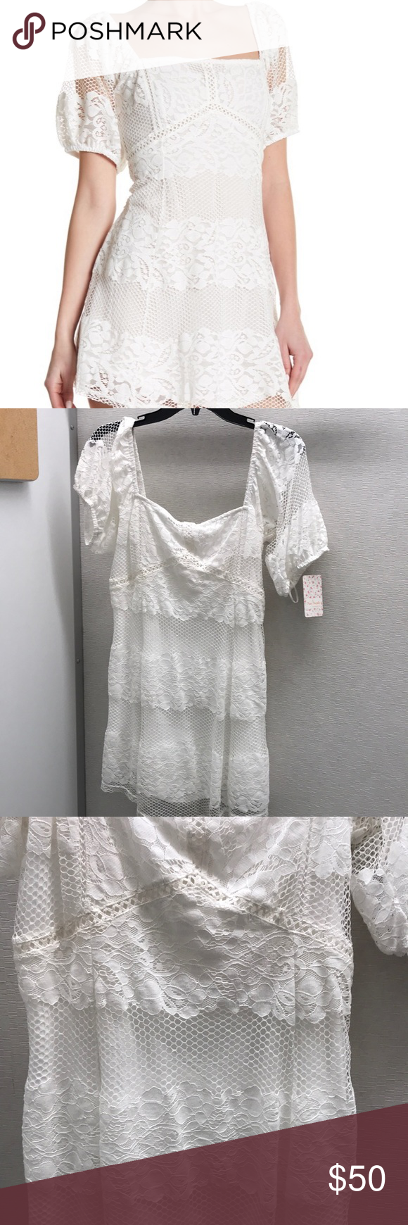 5559c378cb63 NWT $128 Free People Be Your Baby Ivory Dress S Style #: OB770125 Lace  details