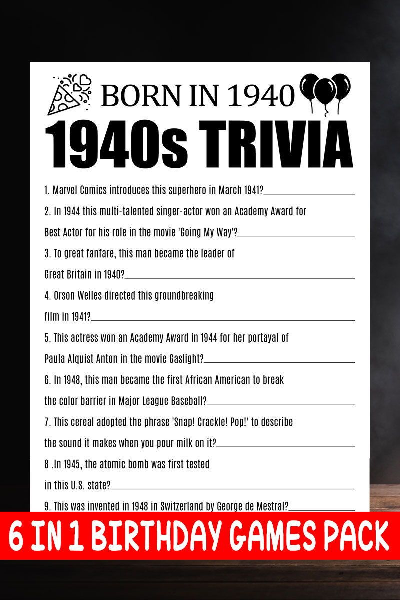 80th Birthday Party Games 80th Trivia Games 80th Birthday Party
