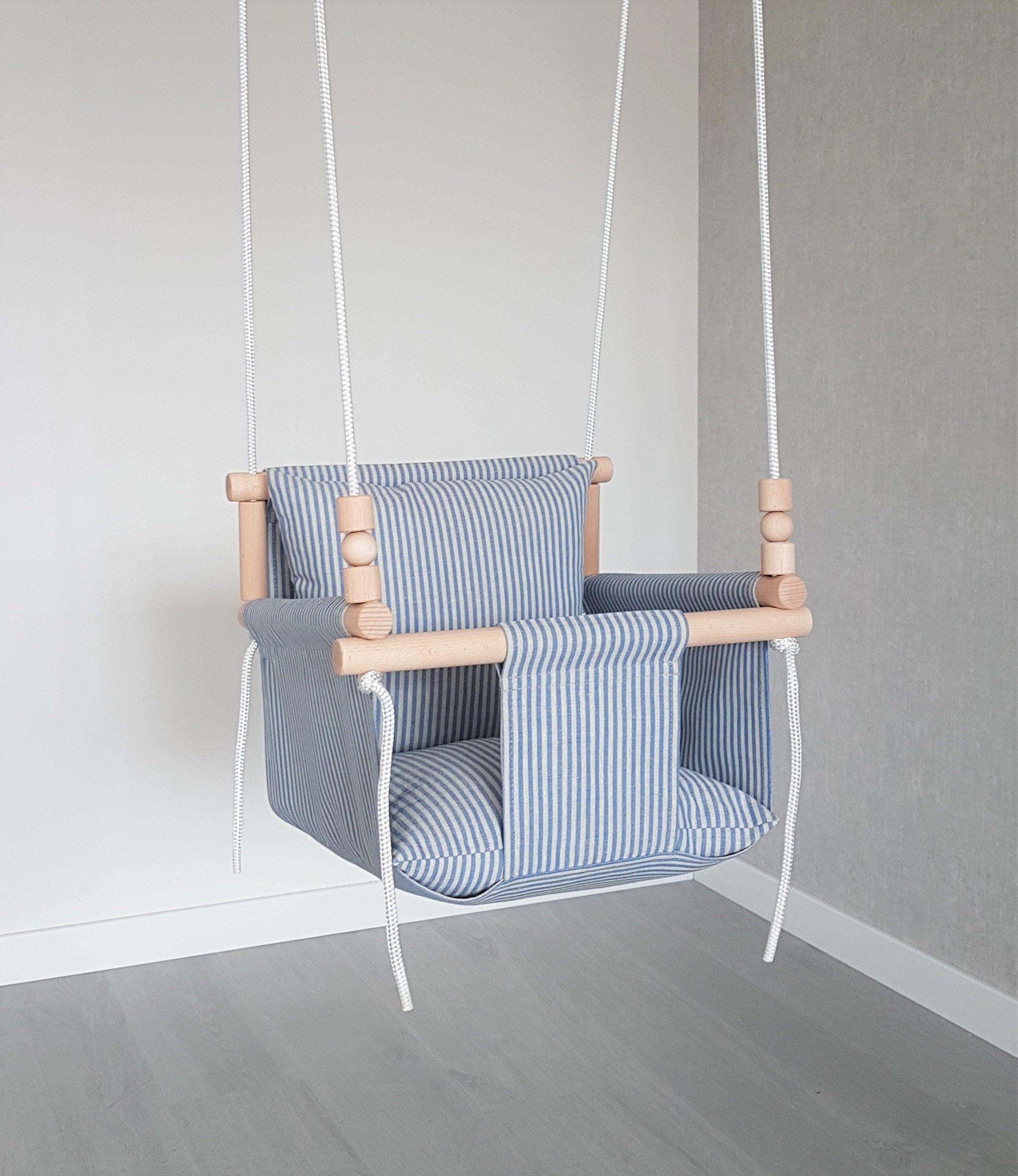 Comfortable Design Natural Linen Baby Swing Ships Fast Toddler Swing Linen Swing Indoor Swing First Birthday G Toddler Swing Baby Swings Baby Swing Chair