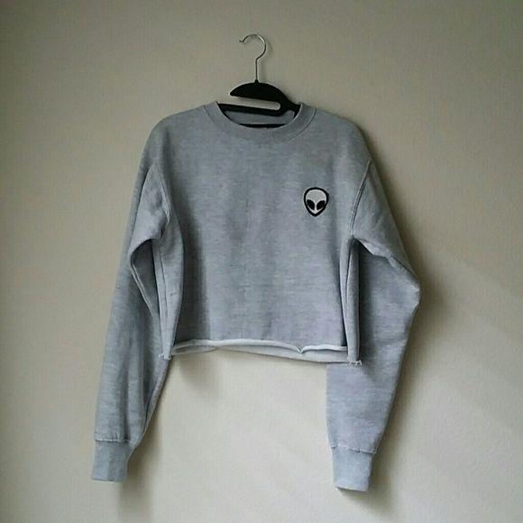 Brandy Melville Alien Sweater Like new BM crop sweater Brandy Melville Jackets & Coats