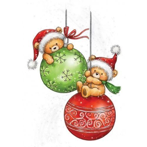 Weihnachtskarten Clipart.Wild Rose Studio Clear Stamp Teddy Baubles Christmas Weihnachten