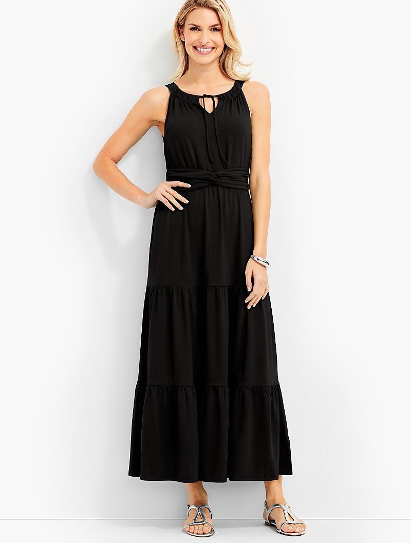 Tiered Jersey Maxi Dress Talbots Maxi Dress Maxi Jersey Dress Clothes For Women [ 1057 x 800 Pixel ]