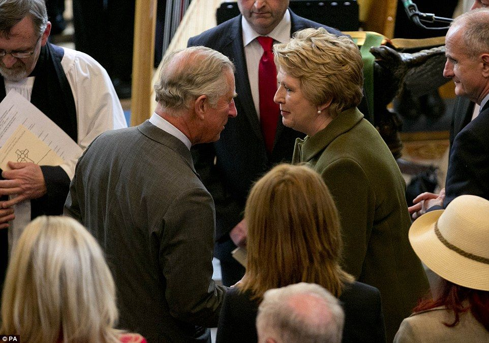 Earlier this afternoon, Charles met former Irish president Mary McAleese at a peace and reconciliation service at St Columba's Church in Drumcliffe