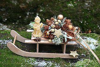 Dekorácie - Sanky-vianočná dekorácia - 5883938_
