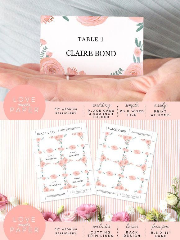 Table Name Place Card PC2025. Wedding Card Templates