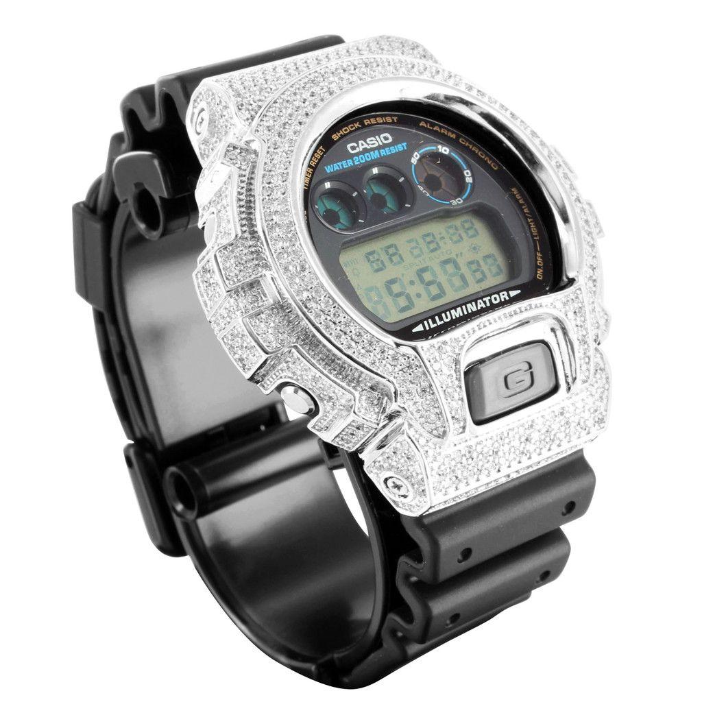 2c3ff8312814 Rubber Strap Simulated Lab Diamond G-Shock DW6900 Watch | Masterofbling