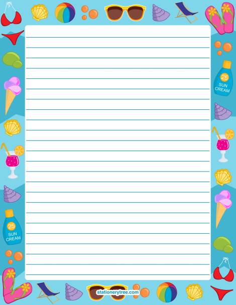 Printable star stationery and writing paper Multiple versions – Free Printable Writing Paper