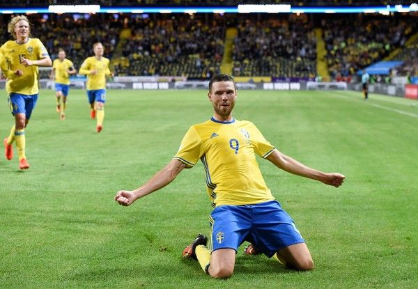 Sweden's forward Marcus Berg celebrates after scoring during the WC 2018…