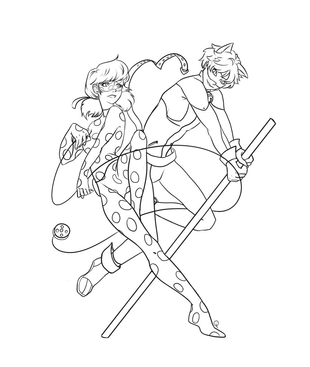 Miraculous chat noir coloring page coloring pages - Ladybug And Cat Noir Lady Bugcoloring