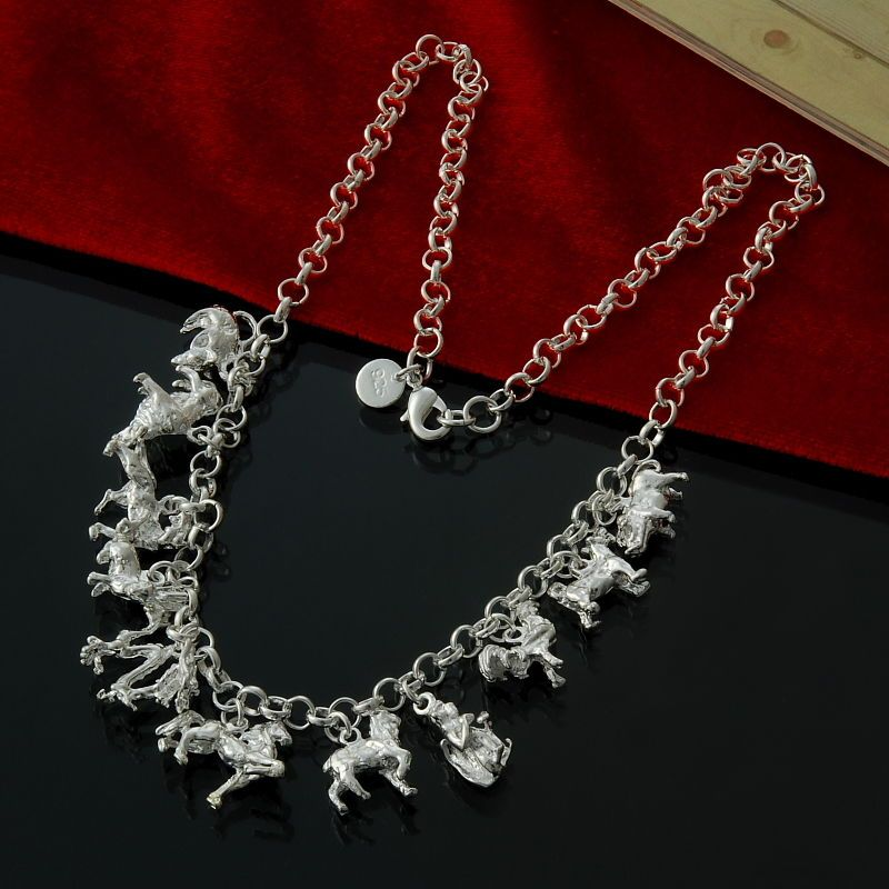 """WOMEN'S NECKLACE 18"""" ZODIAC ANIMAL CHARMS ON ROLO CHAIN IN 925 STERLING SILVER"""