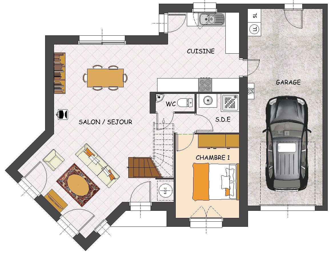Favorit Plan de maison contemporaine 4 chambres, salon en bow-window et  XX58