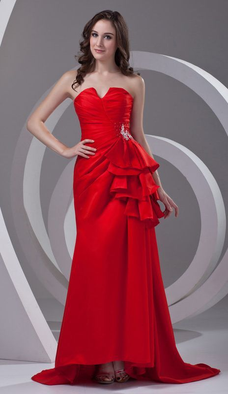 Red Prom Dresses 2017 Trumpet/Mermaid Notched Sleeveless Lace-up Satin Beading
