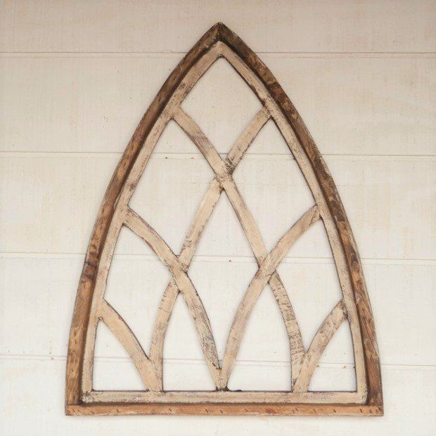 Arched Wood Cathedral Window Wall Decor Decorating Ideas