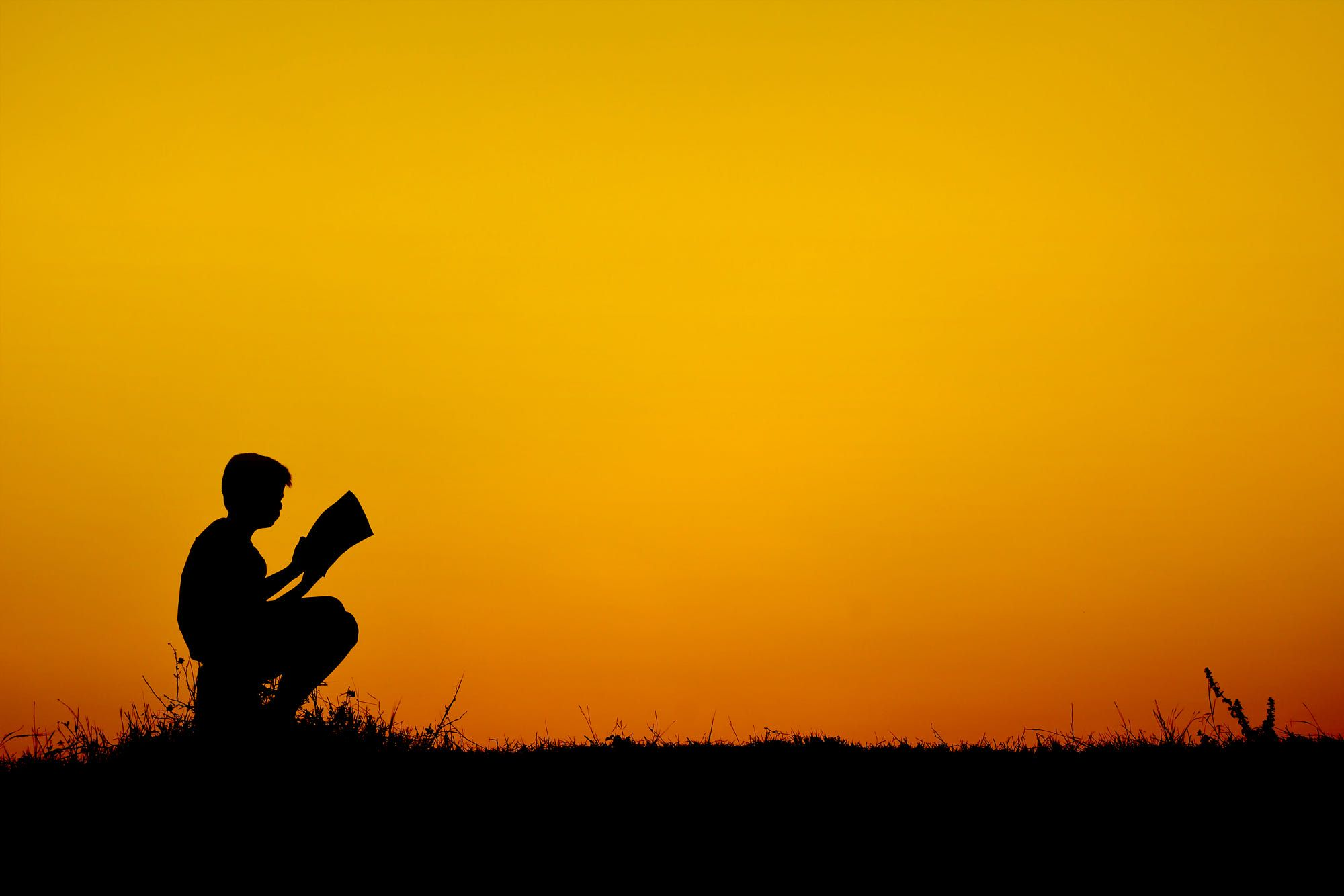 Silhouette A Boy Reading Book At Sky Sunset By Sawitree Lyaon Photo 147826227 500px Books To Read Sunset Sunset Silhouette