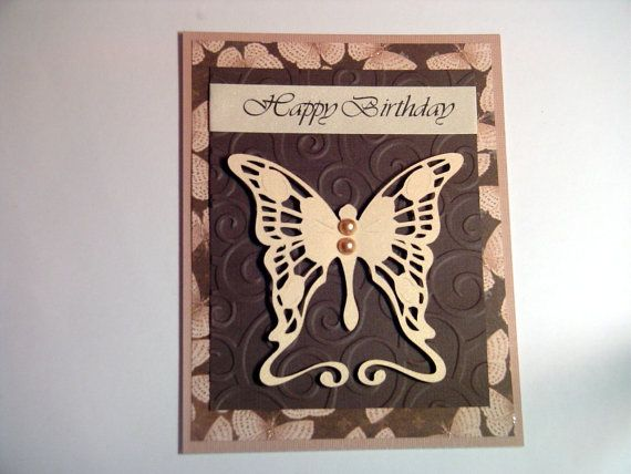 Brown embossed butterfly happy birthday card embossed cards brown embossed butterfly happy birthday card embossed cards butterfly card birthday card etsy bookmarktalkfo Gallery