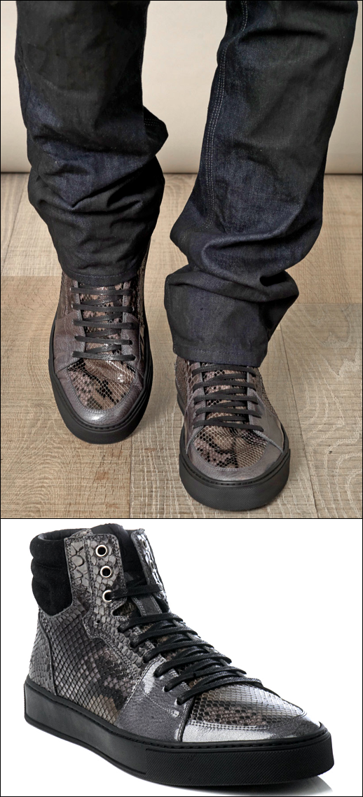 Yves Saint Laurent Python high top trainers SNEAKERS MATCHES LONDON MENS STYLE FASHION BLOG