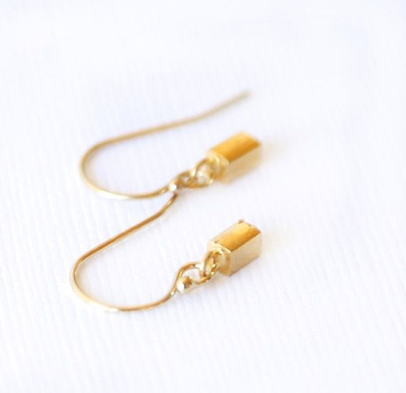 Tiny Gold Rectangle Earrings- Simple gold earrings everyday jewelry on Etsy, $17.00