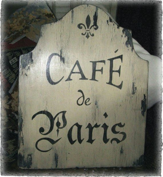 Vintage cafe de paris sign french country paris cottage chic ...