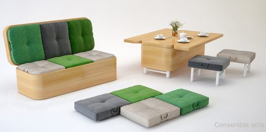 Sectional Sofas This sofa transforms into a dining table with six padded stools