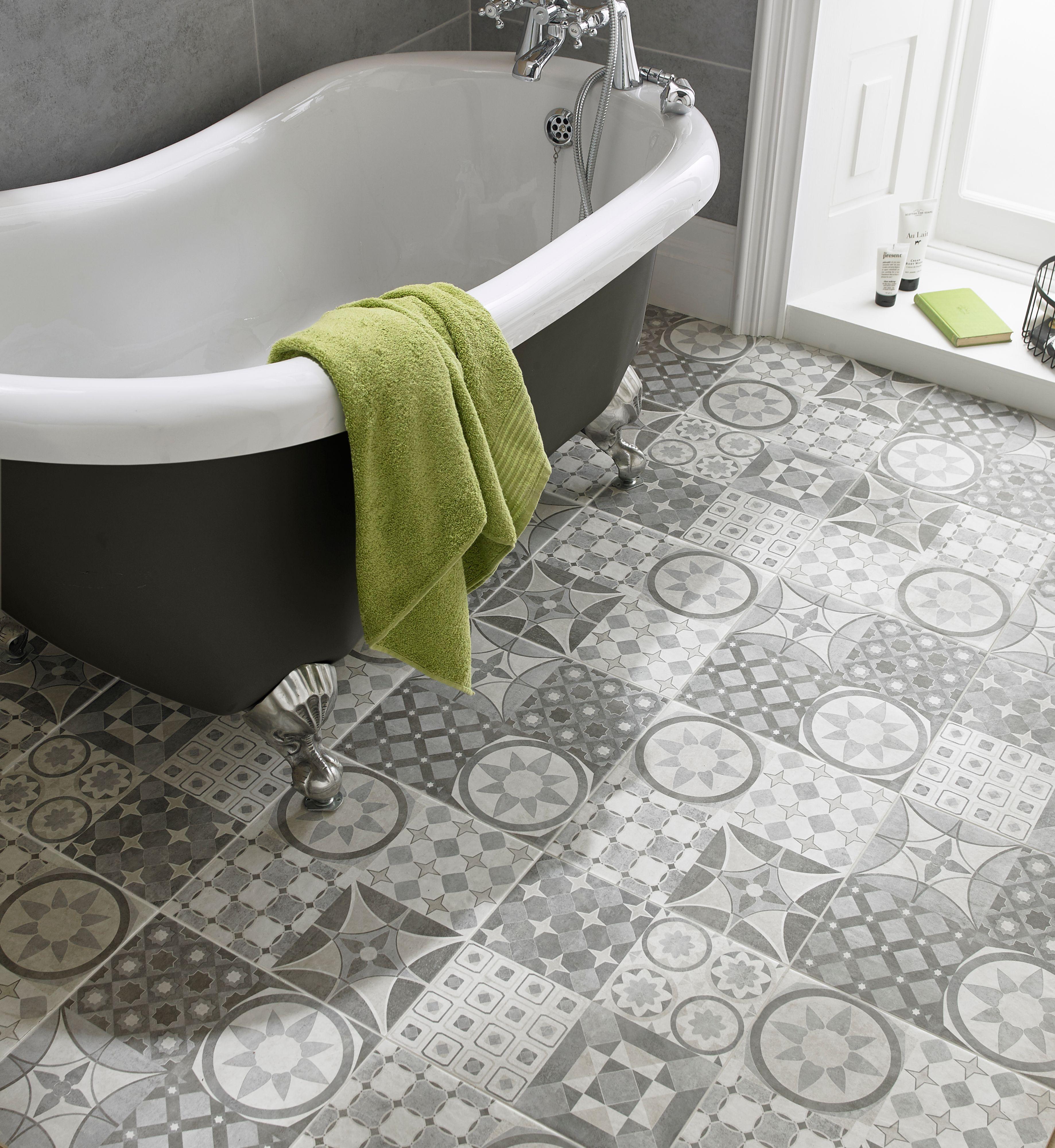 Lofthouse Grey Matt Patchwork Ceramic Wall Floor Sample Tile L 331mm W 331mm B Q For All Your Home A Patchwork Tiles Bathroom Patchwork Tiles Tile Floor