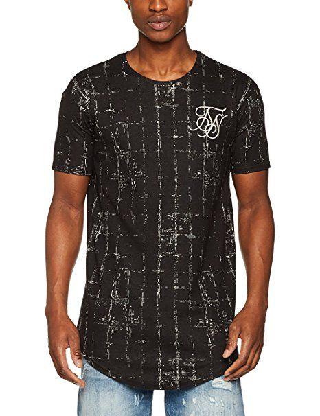 2bd6f692ddf Sik Silk Men s Sik Silk Grid Curved Hem Tee T-Shirt