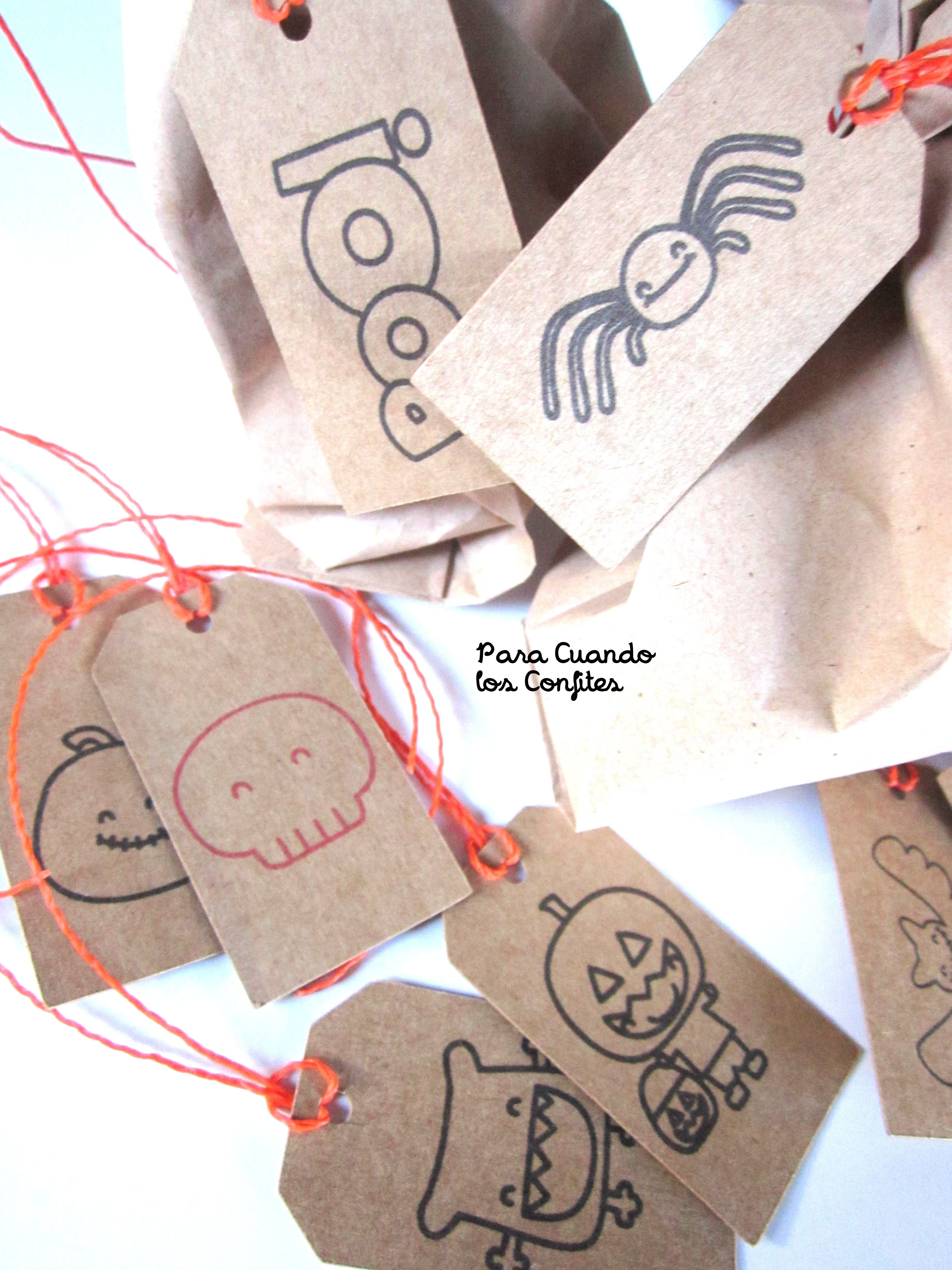Bolsitas papel manila y tags Halloween