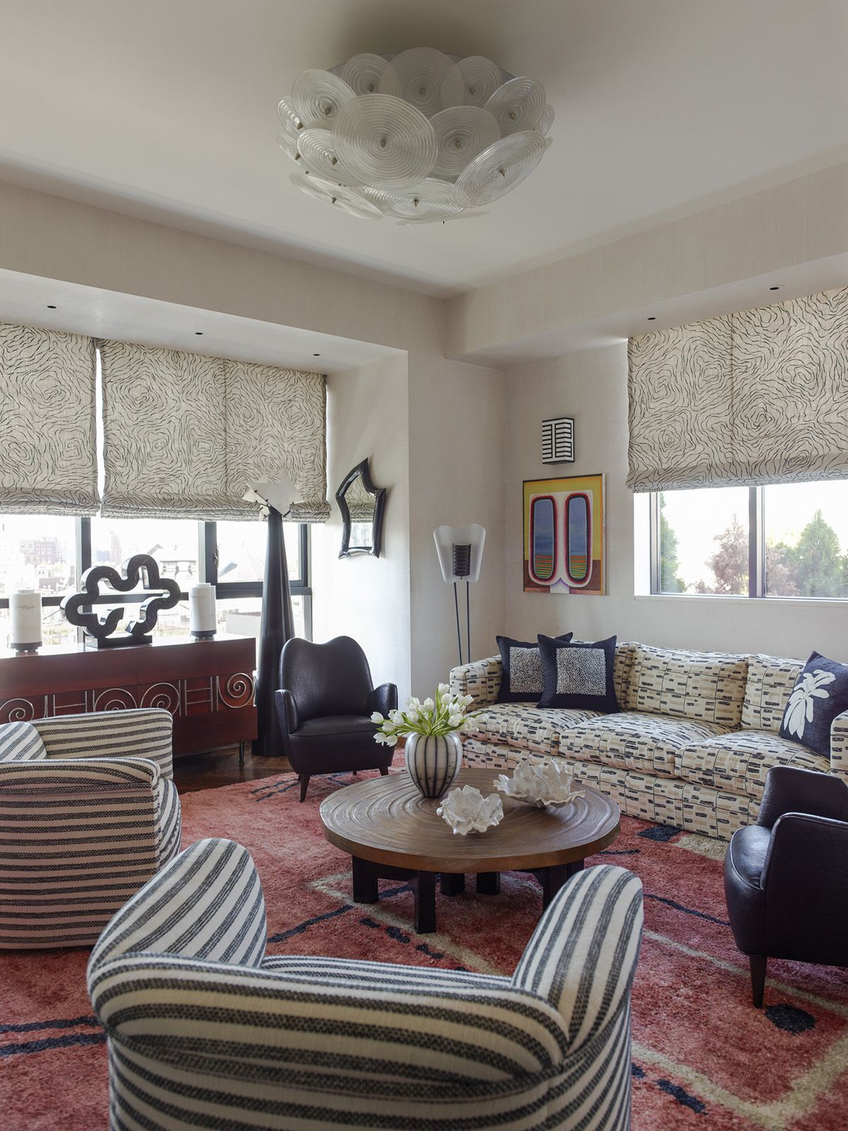 Mixed Texture And Pattern Kelly Wearstler Interiors Living Room Blodgett Residence New York