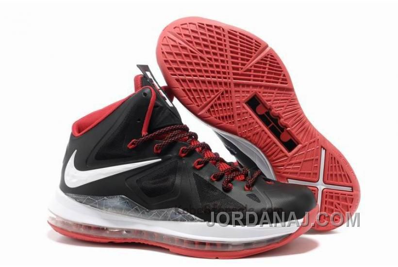 newest 51b88 dec25 854-215670 Nike LeBron 10 X Black White Red