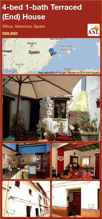 4-bed 1-bath Terraced (End) House in Oliva, Valencia, Spain ►€89,950 #PropertyForSaleInSpain