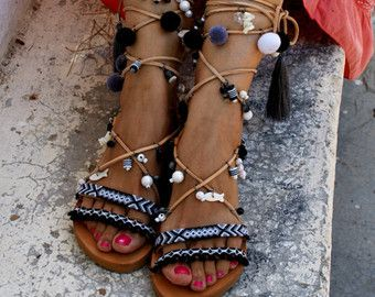 7f5172ae2c0e 99 euros ( was 159 euros)LIBERIAN GIRL   Pom pom sandals  Gladiator sandals   boho sandals  tie up sandals  friendship sandals  black sandals