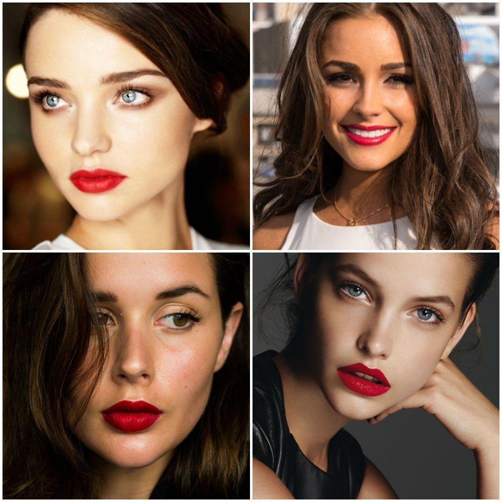 Red lips makeup look, trend, ideas 2018 Макияж красные
