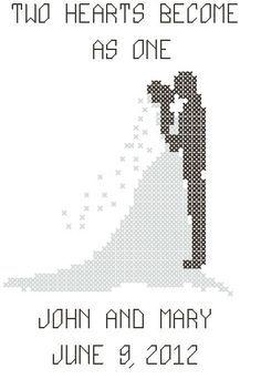 Modern wedding cross stitch pattern, bride and groom silhouette ...