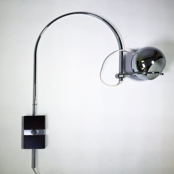 Cool space age wall light - nordic style mid century modern chrome