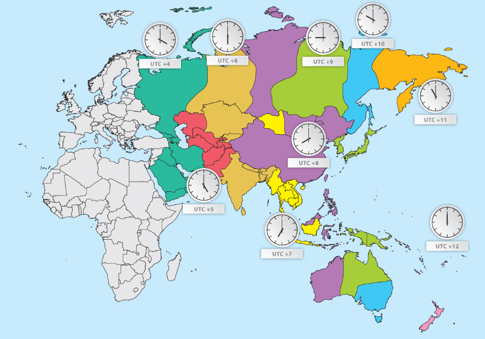 Time Zone Map Of Asia Asia Current Time Zones Map Whatsanswer Time Zone Map Asia Map Time Zones