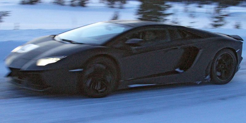 Lamborghini Aventador LP700-4 Roadster test mule cold-weather testing in Sweden. Photo by Fourtitude.com