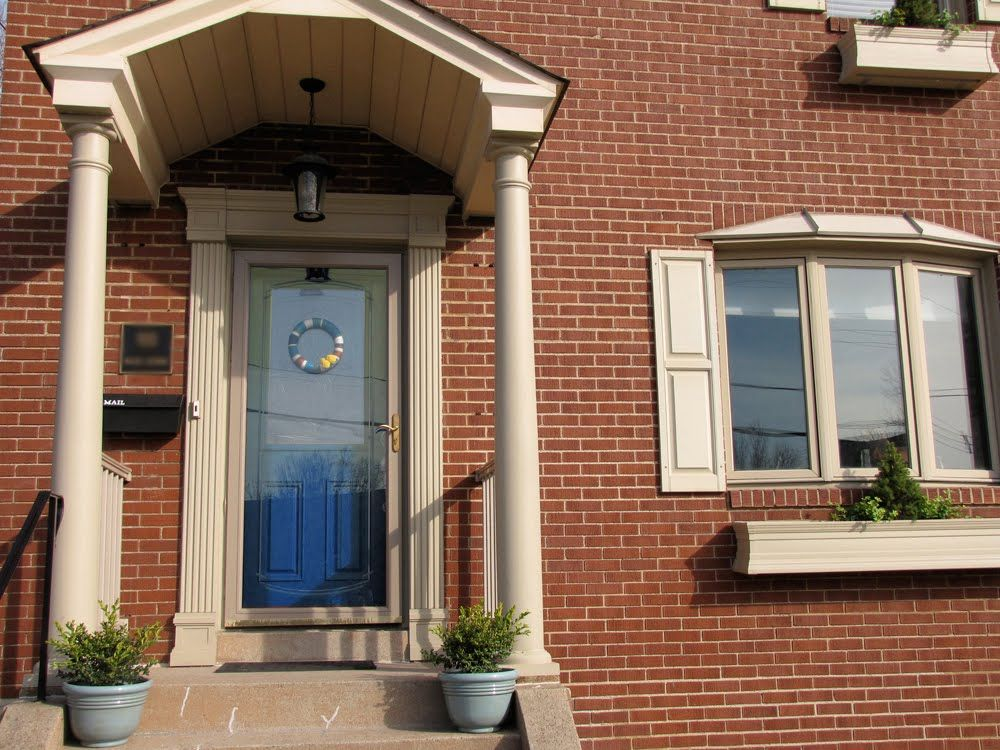 Want a blue front door or a colored front door your for Front door with storm door