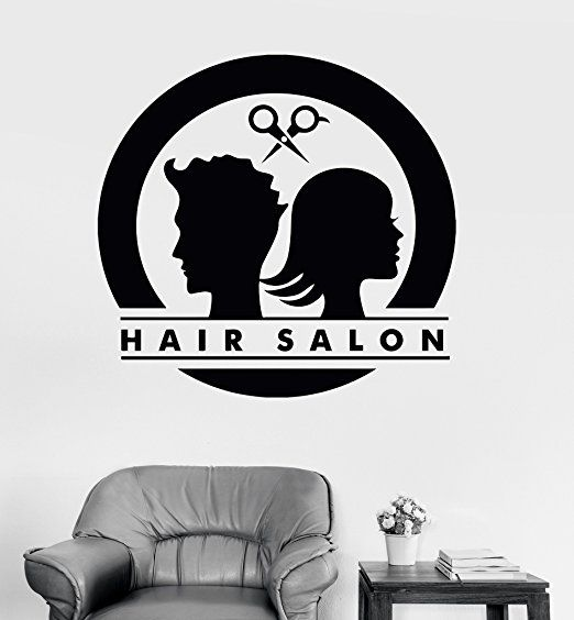Amazon Com Large Vinyl Wall Decal Hair Salon Logo Unisex