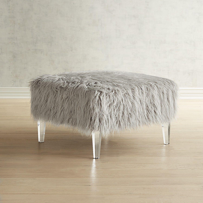 Pisa Blush Faux Fur & Acrylic Square Ottoman