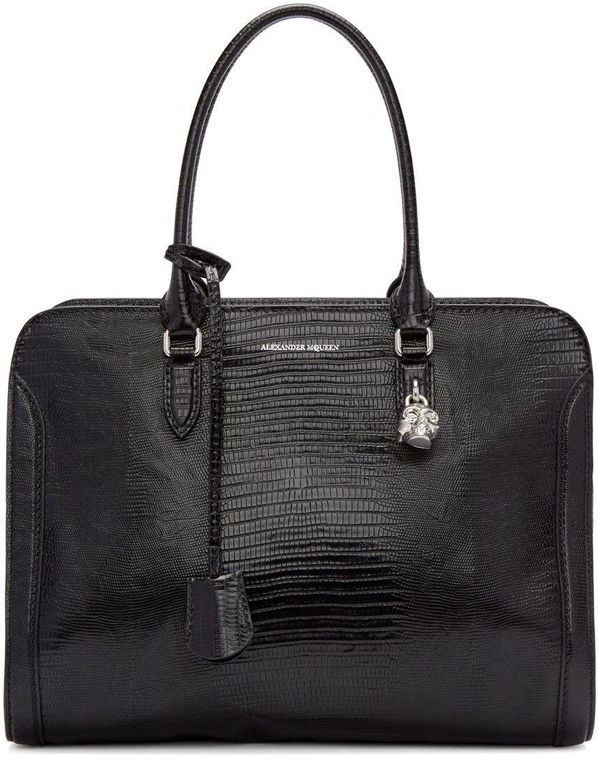 19e2bcd9ab07 Alexander McQueen Black Lizard-Embossed Padlock Tote | táska | Bags ...