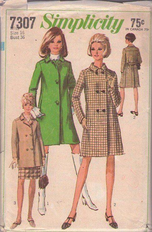 MOMSPatterns Vintage Sewing Patterns - Simplicity 7307 Vintage 60's Sewing Pattern KILLER Mod Spy Girl Single or Breasted Jacket, Coat Set Size 16