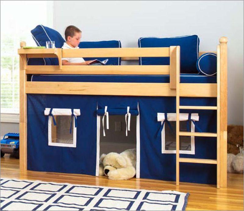 Kids Loft Bed For Minimalist Look Bedroom Blue Hue Wooden Frame FLoor White Wall