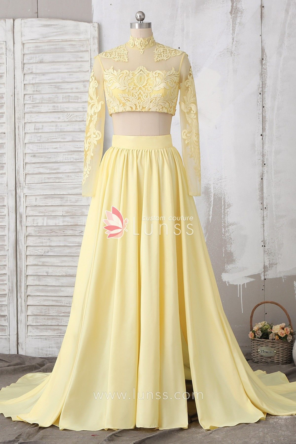 Daffodil illusion twopiece long sleeve lace taffeta homecoming