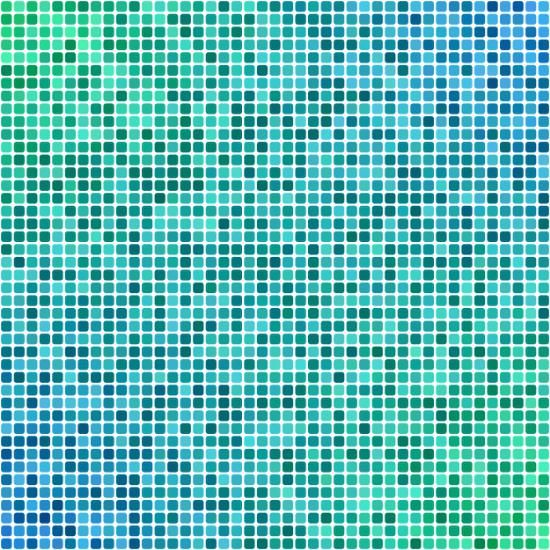 Green blue pixel mosaic art print