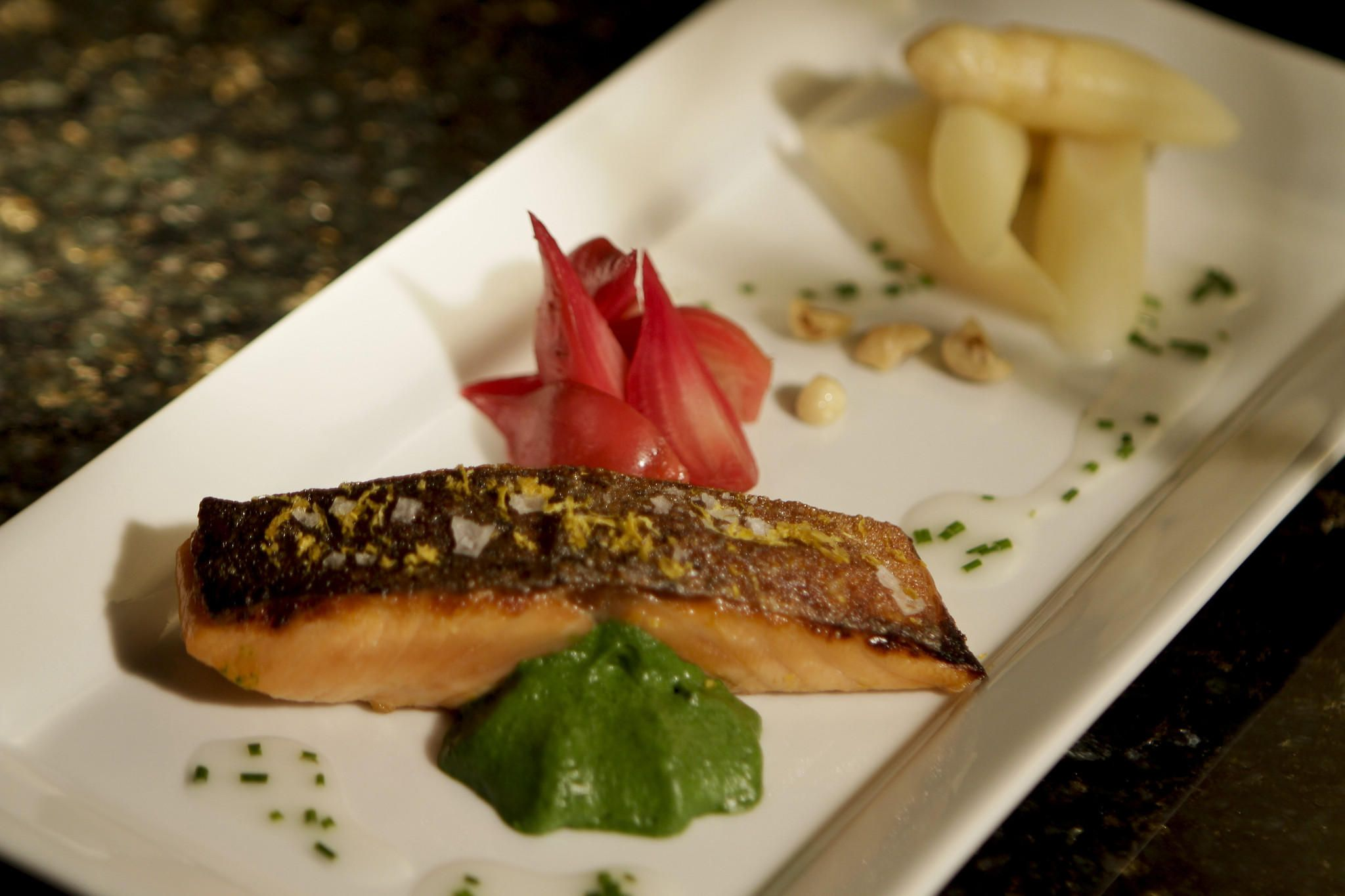 Meyer lemoncured salmon with spring vegetables Recipe