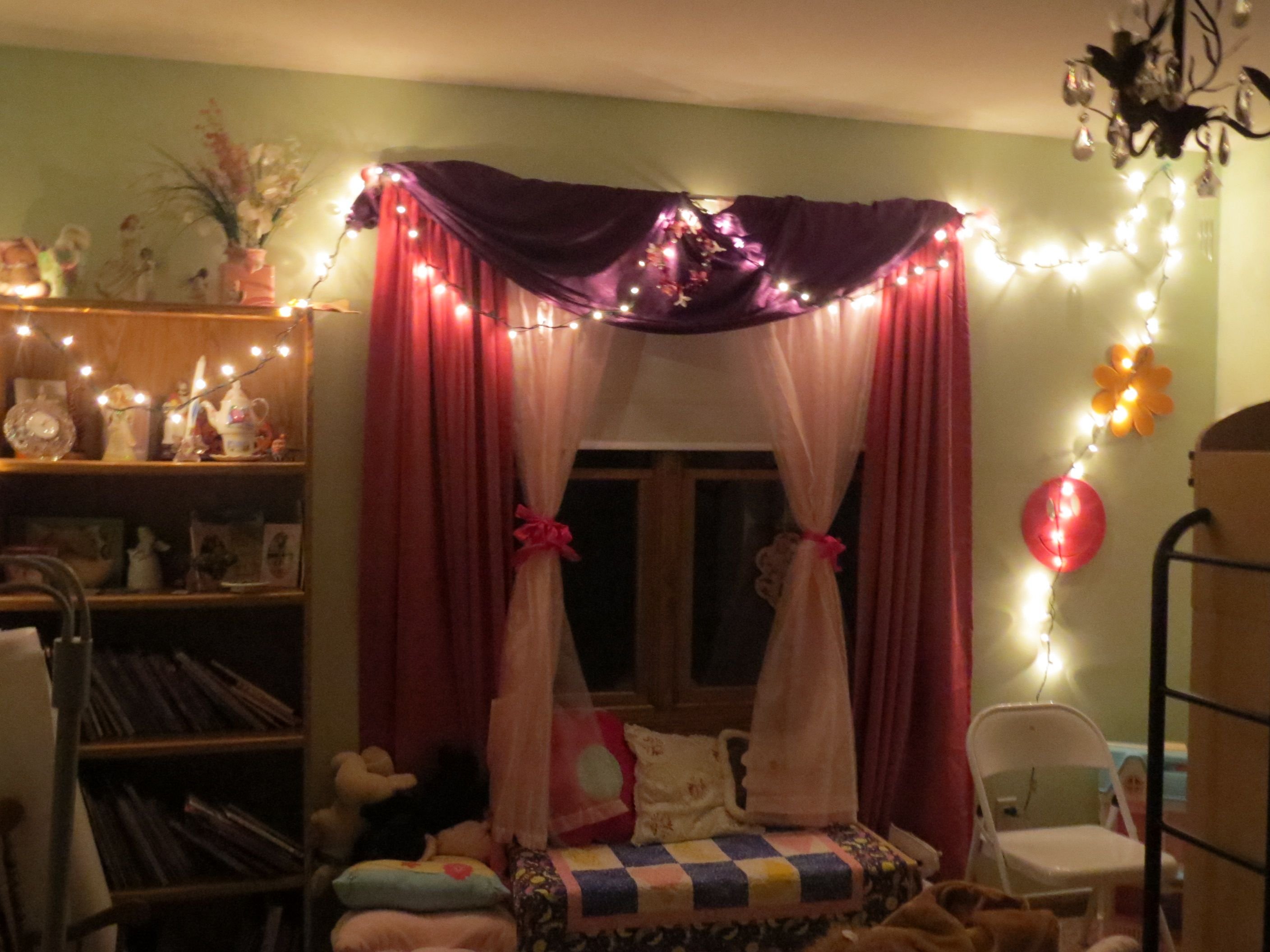 I decorated her bedroom with lights.  We also had a star projector, and lots of night lights.  We didn't get to use the glow sticks, but I think that would have been fun too.
