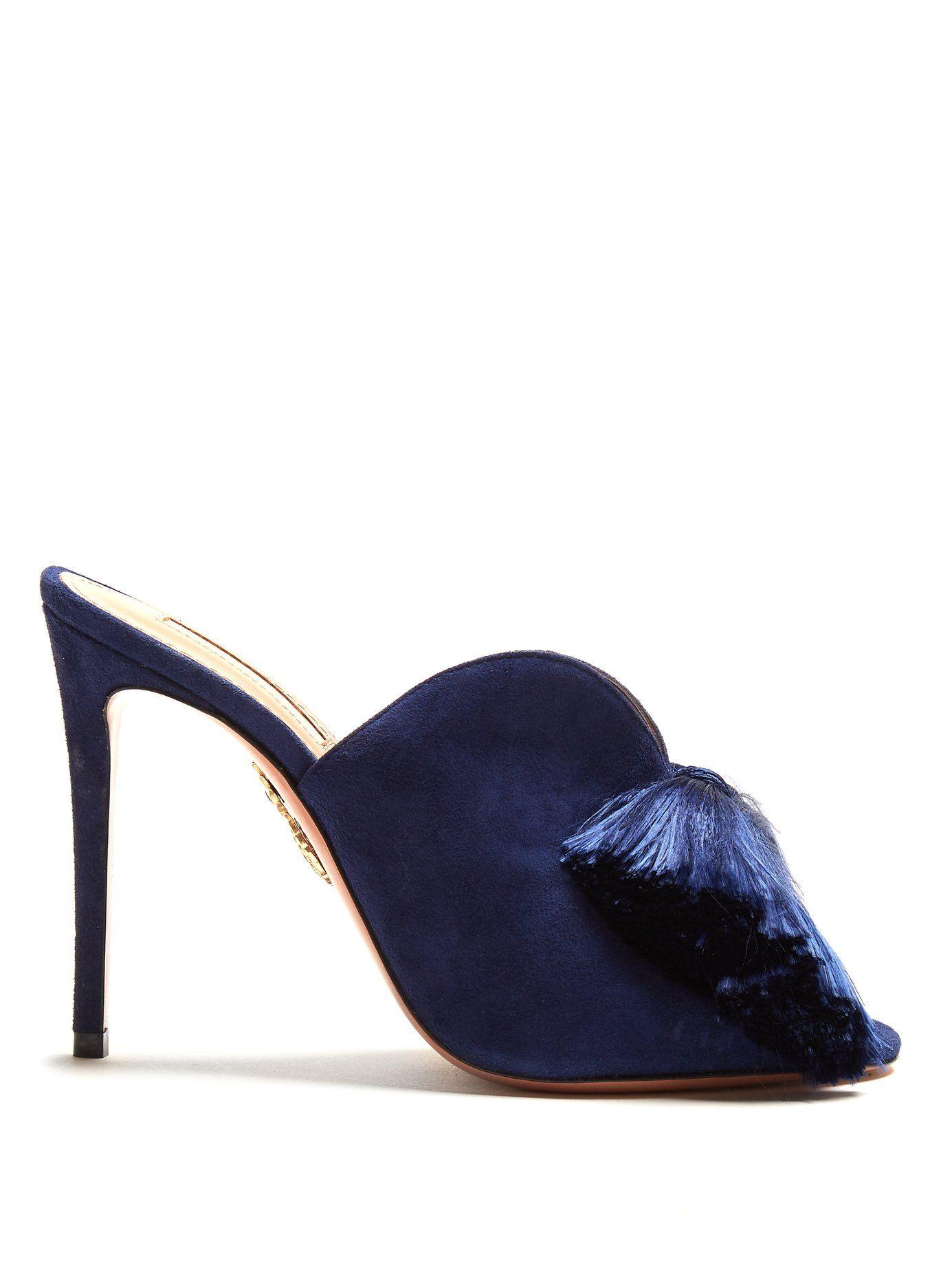 AQUAZZURA LOTUS BLOSSOM 105 TASSEL-EMBELLISHED SUEDE MULES.  aquazzura   shoes   93363c76e7e5