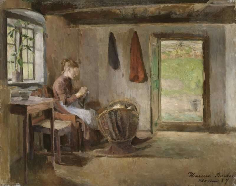 Harriet Backer (Norwegian painter) 1845 - 1932 Bondeinteriør, Skotta i Bærum (Peasant Interiors, glancing in Bærum), 1887 oil on canvas 38 x 48 cm.