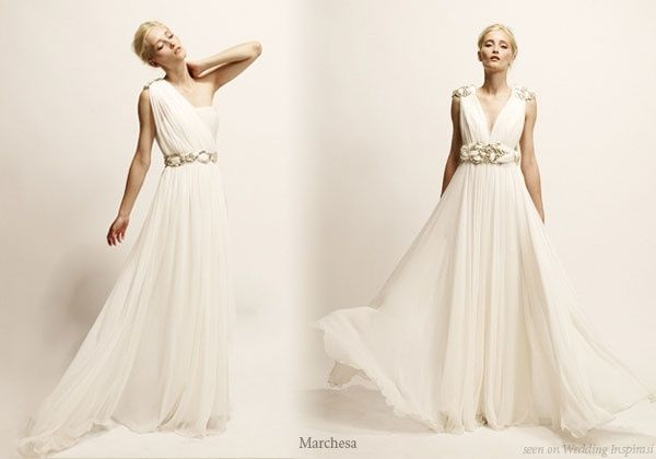 Roman Toga Greek Goddess Inspired Wedding Gowns And Evening Dresses From Marchesa Wedding Dresses Greek Goddess Wedding Dress Roman Style Wedding Dress