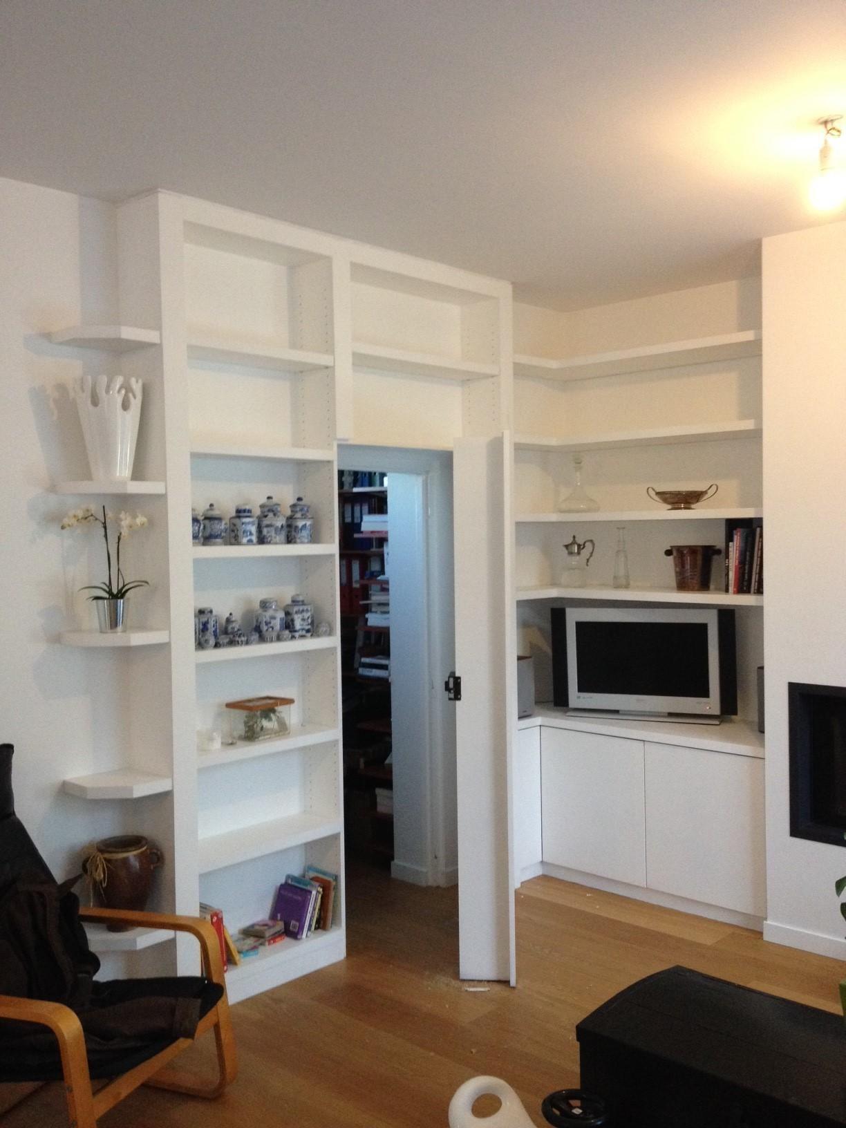 bibliotheque sur mesure porte dissimul e home pinterest bibliotheque sur mesure sur. Black Bedroom Furniture Sets. Home Design Ideas